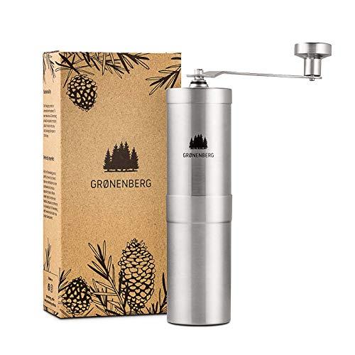 Groenenberg Kaffeemühle manuell mit Kegelmahlwerk | Kaffeemühle Hand - Handkaffeemühle aus Edelstahl | Espressomühle | Präzise Mahlgradeinstellung...