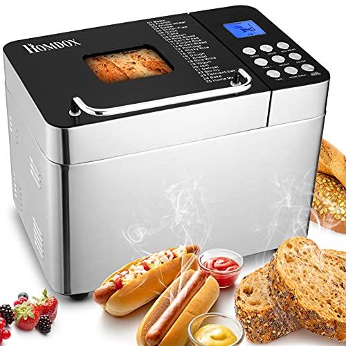 Brotbackautomat ,Edelstahl,600 W,mit 25 Backprogramme,3 Brotgrößen (500 g / 750 g/100 g) ,3 Backfarben , Sichtfenster,Timer und Warmhaltefunktion.BPA-frei,GS...