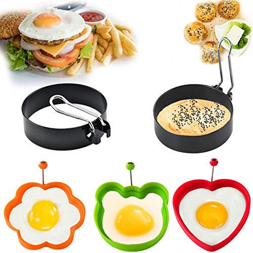 5 Pcs Spiegeleiformen,Egg Ring,Ei Ring Edelstahl,Silikon-Ei-Ringe Antihaft,Ei Ring Edelstahl Siliko,Pancake Form Edelstahl Antihaft Pfannkuchen Form...