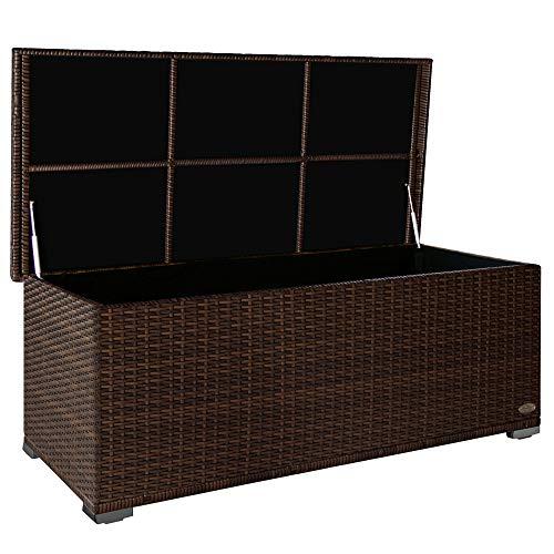 PREMIUM 'Sienna' 650l Polyrattan Garten Kissenbox wetterfest (regnet nicht rein) 155 x 73 x 60 cm, Auflagenbox mit verstärktem Deckel und Gasdruckfedern, als...