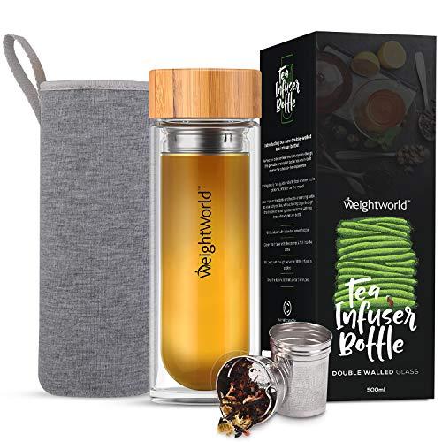 WeightWorld Teeflasche mit Sieb to Go - 500ml Thermo Tee Flasche aus Borosilikat Glas doppelwandig - Tea Infuser mit Bambus Schraubverschluss & Edelstahl Sieb -...