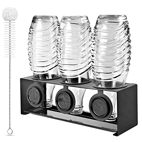 KERNOWO Edelstahl Flaschenhalter kompatibel mit Sodastream Flaschen Abtropfhalter 3 er - Abtropfständer für Sodastream Crystal und Emil Flaschen,...