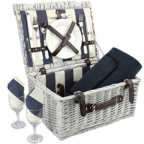 Picknickkorb für 2 Personen mit wasserdichter Decke, strapazierfähigem Picknickkorb aus Weidengeflecht, Zubehör für Willow-Picknickkorb, perfektes...