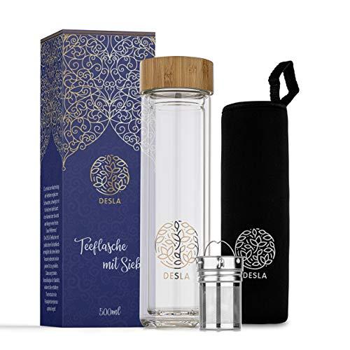 Desla ® Teeflasche mit Sieb – Doppelwandige Trinkflasche aus Borosilikatglas auch für den Sommer – Infused Water - [500ml] Teeflasche mit Edelstahl Sieb...