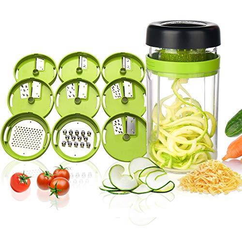 Adoric Gemüse Spiralschneider, 9 in 1 Gemüseschneider mit Behälter, Hand Gemüse Spirallschneider Gemüsehobel Schneider Für Gemüsespaghetti, Gurke,...