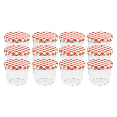 WELLGRO® Einmachgläser mit Schraubdeckel - 230 ml, 8,5 x 6,5 cm (ØxH), Glas/Metall, rot karierte Deckel To 82, Gläser Made in Germany, verschiedene Mengen...
