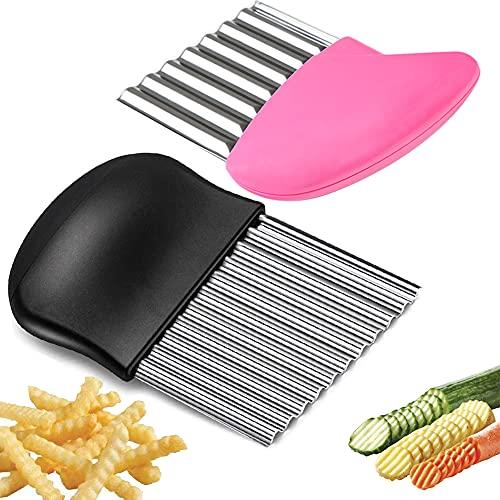 BITEFU 2 Stück Wellenschneider,Edelstahl Pommes Frites Schneider,Kartoffelschneider Gurkenhobel Gemüsehobel, Küchengerät Schneidewerkzeug für Kartoffeln...