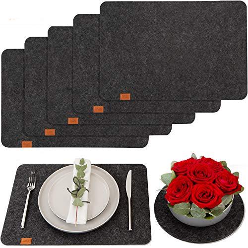 DINING concept Tischset aus Filz 6er Platzset aus Filz anthrazit mit GRATIS Deko Untersetzer Filz Tischsets Filz für Teller Platzmatten Set dunkelgrau...