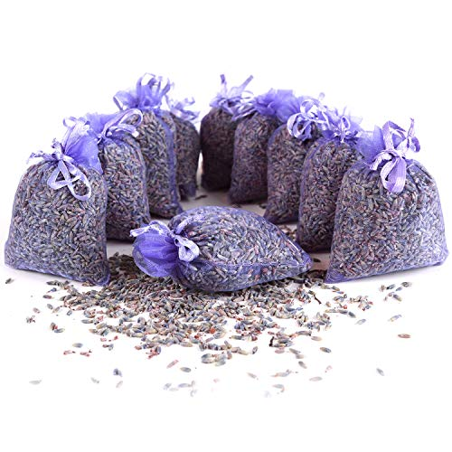 Quertee 10 x Lavendelsäckchen Mottenschutz als Duftsäckchen mit französischen Lavendel zum Entspannen und Schlafen - Mottenschutz für Kleiderschrank (10 x...