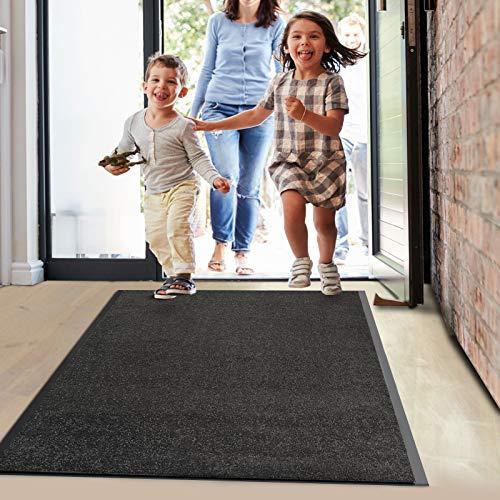 Floordirekt Schmutzfangmatte Monochrom   viele Größen, viele Farben   Länge auf Maß   rutschfeste waschbare Fußmatte (Schwarz, 200 x 300 cm)