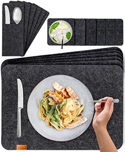 Miqio® Design Filz Tischset abwaschbar | Mit Marken Echtleder Label | 18er Set - 6 Platzsets abwaschbar, Glasuntersetzer, Bestecktaschen | dunkel grau...