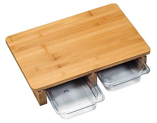 KESPER 58353 Schneidebrett mit Auffangschalen aus Kunststoff/Schneidbrett/Schneidebrett Holz