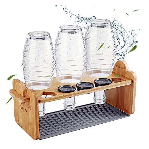 Flaschenhalter für Sodastream, EIVOTOR Glasflaschen Halter Abtropfständer mit Silikon Abtropfmatte Deckelhalter Abnehmbarer Abtropfhalter aus Bambus für 3er...