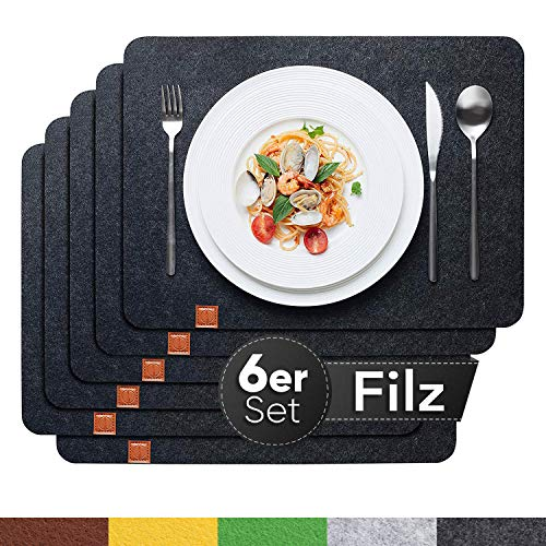 Sidorenko Edles Platzset aus Filz 6er Set anthrazit - Tischset Abwischbar 44x32cm Filzuntersetzer - abwaschbare Tischuntersetzer Platzdeckchen - grau...