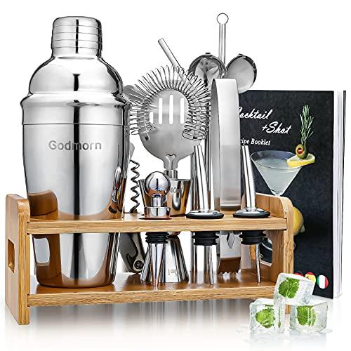 Cocktail Set, Godmorn Edelstahl Cocktail Shaker Set, 15 Teiliges Barkeeper Set mit Bessere Bambus Ständer, Rezeptbuch, Messbecher und Bar Löffel, 550 ml...