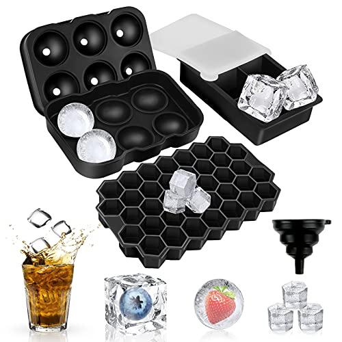 solawill Eiswürfelform Silikon, 3 Stück Eiswürfel Form Eiswürfelbehälter mit Deckel und Trichter, BPA Frei Eiskugelform, Groß Ice Cube Tray für Whisky...