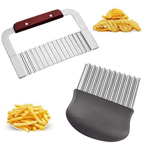 bilkoivn Wellenmesser Edelstahl Wellenschneider Kartoffelschneider Schneiden Kartoffeln Süßkartoffeln und Obst oder Gemüse Crinkle Cutter 2er Set für...