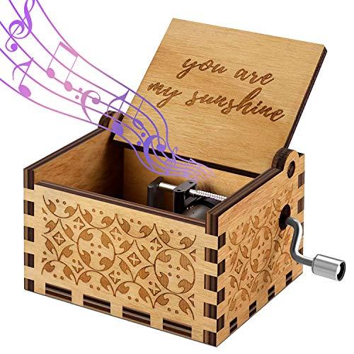 Funmo Hand-hölzerne Spieluhr, Gravur aus Holz Dekorative Box Reine Hand- You Are My suinshine Klassischen Musik-Box Hand-hölzerne Spieluhr Kreative Holz...