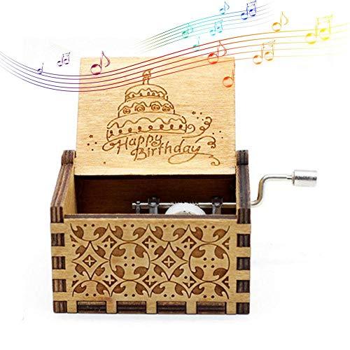 Womdee Musikbox Happy Birthday Thema, Holz Klassische Spieluhr Handwerk Mit Handkurbel, 18 Hinweis Mechanismus Antike Geschnitzte Spieluhr Geschenke Für...