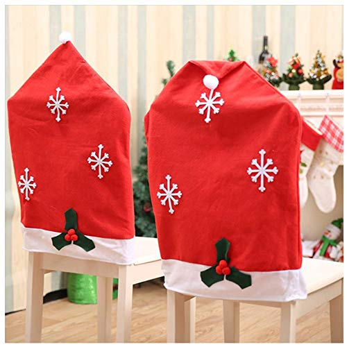 Amacoam Stuhlhussen Weihnachten Weihnachtsmann Red Hat Schneeflocke Stuhl Zurück Abdeckungen 4 Stück Weihnachten Stuhlüberzug Weihnachten Decorations für...