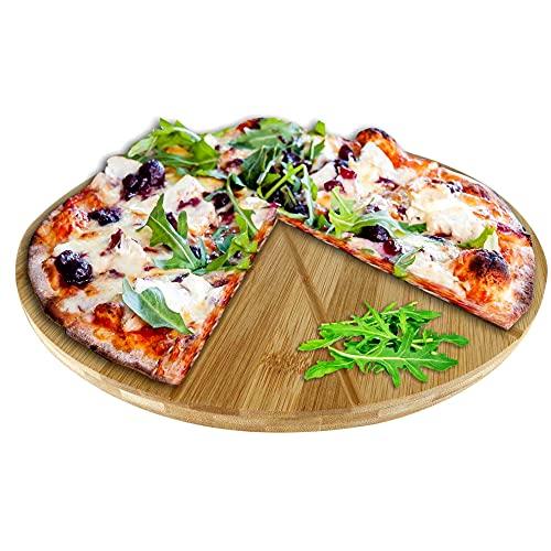 Oriamo® Pizzateller Bambus 33 cm Durchmesser, Schneidbrett aus Holz, schnittfestes Pizzabrett mit 6-facher Einteilung für gleichmäßig große Stücke,...