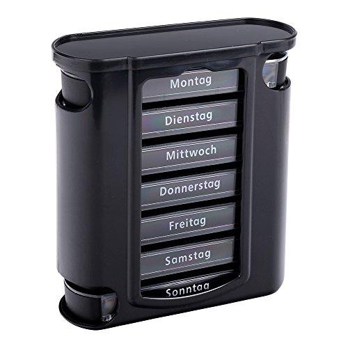 Schramm® Tablettenbox schwarz mit schwarzen Schiebern 7 Tage Pillen Tabletten Box Schachtel Tablettendose Pillendose Pillenbox Tablettenboxen Pillendosen...