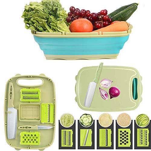Gintan Multifunktions Schneidebrett Küche, 9 in 1 Faltbare Schneidebrett Kunststoff mit 5 Gemüseschneider Tragbares Schneidebrett Abflusskorb für Küche Obst...