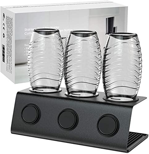 Edelstahl Flaschenhalter kompatibel mit Sodastream Flaschen, 3er Abtropfständer für Sodastream Crystal und Emil Flaschen, Abtropfgestell SodaStream...