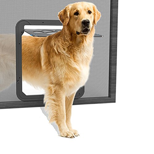 NAMSAN Haustierklappe Hundeklappe Katzenklapp für Fliegengitter mit Magnet Geschlossen