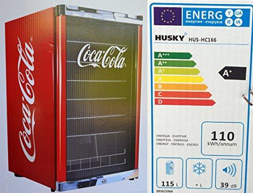 Husky HUS-HC 166 Highcube High Cube Flaschenkühlschrank Coca-Cola/A+ / 83,5 cm Höhe / 110 kWh/Jahr / 130 L Kühlteil inkl. Reinigungstuch