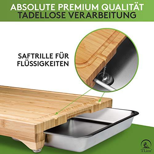 TLION® Bambus Schneidebrett Set mit 2 Auffangschalen [+15 REZEPTE] - Saubere Küche - Rutschfest & mit Saftrille - [HÖCHSTE QUALITÄT] - Schneidebrett mit...