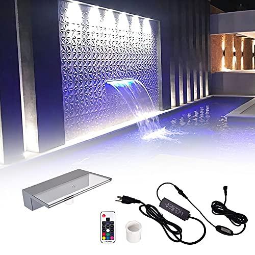 Pondo 30cm Acryl Wasserfall Mit 7 Farbvarianten LED Beleuchtung Und Fernbedienung für Gartenteich Pool Teich, Beleuchtete Wasserfall Garten Kaskade Mit LED...