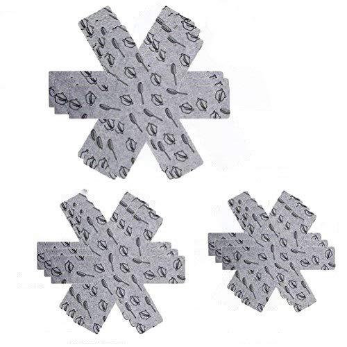 Agreenway Pfannenschutz Set 9 Stück Pfannenschoner Filz mit 3 Groessen (G/38 cm, M/35 cm, K/26 cm)