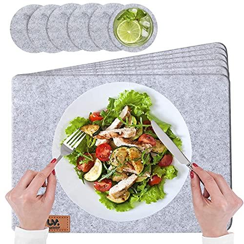 UMAIRIF Tischset, Platzset Abwischbar 12er Set, Platzdecken Hell Grau Platzsets Set mit 6er Untersetzer Rund und Tischmatten 44 x 32 cm für Küche, Familie