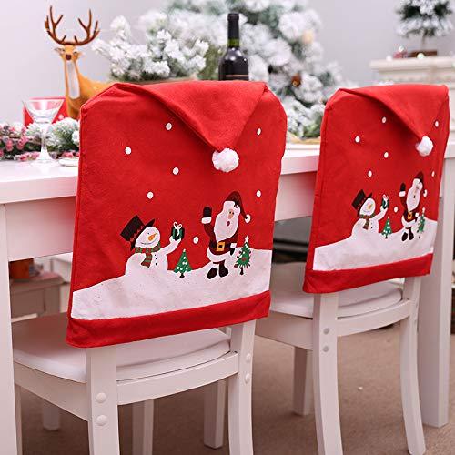 Cozyhoma Weihnachtsstuhlbezüge, Weihnachtsmannmützen-Stuhlhussen, Weihnachtsmannmützen-Stuhlrücksitzbezug, roter Hut, Stuhlrückseite, Weihnachten,...