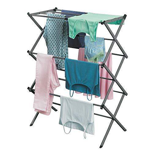 mDesign ausziehbarer Turmwäscheständer – Wäscheständer aus Metall mit 3 Ebenen – platzsparender Standtrockner für Wäscheküche, Garten oder...