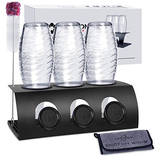 LADYSON Flaschenhalter für SodaStream Crystal - 3er Abtropfhalter ständer,für Soda Stream und Emil Flaschen,aus Edelstahl mit Abtropfwanne und...