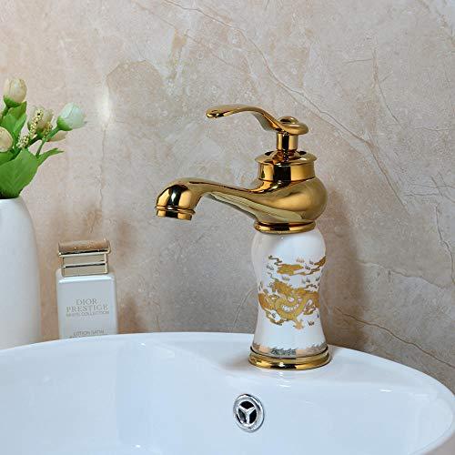 Gold poliert Wasserhahn Deck montiert Bad Wasserhahn Waschbecken Wasserhahn drehbar Einhand Heiß- und Kaltwassermischer Wasserhahn-l