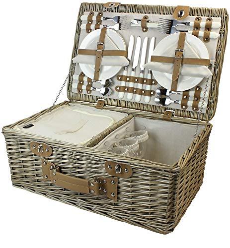 HappyPicnic Weide Picknickkorb Set für 4 Personen mit Kühlfach, Picknickkoffer mit Besteck, Extra-Groß Kapazität