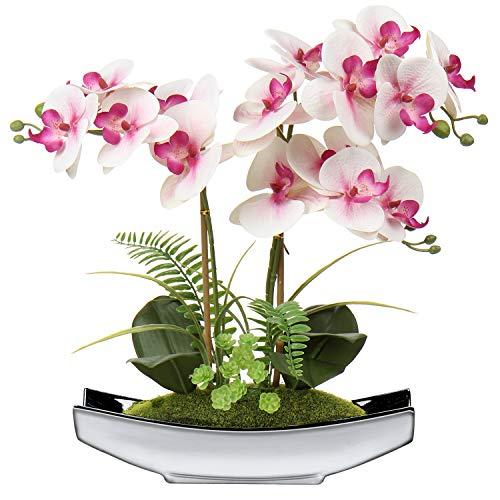 Künstliche Blumen Phalaenopsis Kunstorchidee Bonsai Gefälschte Blumen Seide Orchidee Blumenarrangement mit Silber Keramik Topf für Tischdekoration Wohnzimmer...