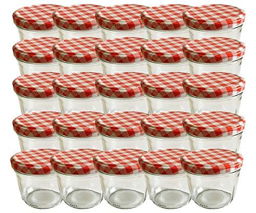 hocz Vorratsgläser-Sturzgläser Set | Menge 25 Stück | Füllmenge 230 ml | inkl. Schraubdeckel Deckelfarbe Rot Karriert 25 Etiketten NZ zum beschriften |...