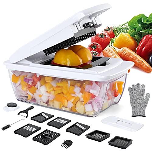Gemüseschneider 14-in-1 Gemüsehobel verstellbar Edelstahl-Klinge Gemüsereibe, Karottenschäler, Kartoffelschneider, Zwiebelschneider, Küchenhobel mit...
