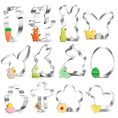 Ausstecher Ostern, 12Plätzchen Ausstechformen Ostern Set, Ostern Edelstahl Ausstechformen, Keksausstecher Ostern, Osterplätzchen für Backen, Hase, Karotte,...
