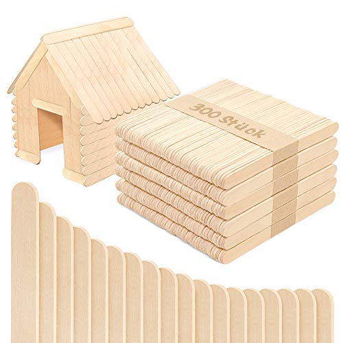 MMM1 300 Stück Holzstäbchen Holzspatel,11.4 cm lang,1 cm breit, Holzeisstiele zum basteln,holzstäbe,Holzstäbchen,Holzstiele,eisstiele aus Holz, Holzspatel...