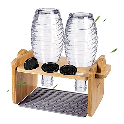 Flaschenhalter für Sodastream, EIVOTOR Glasflaschen Halter Abtropfhalter mit Silikon Abtropfmatte Abtropfständer Abtropfgestell Abnehmbarer aus Bambus für...