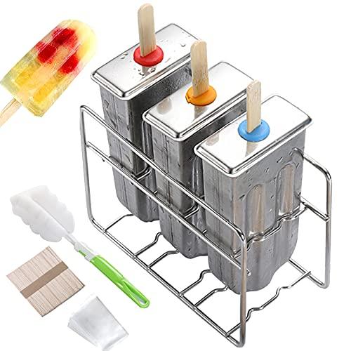 3stk Eisform Edelstahl Popsicle Formen Eis am Stiel Form Mulden Stieleisform Eis Edelstahlform spülmaschinenfest für Küche Erwachsene Schule Eis DIY Sommer,...