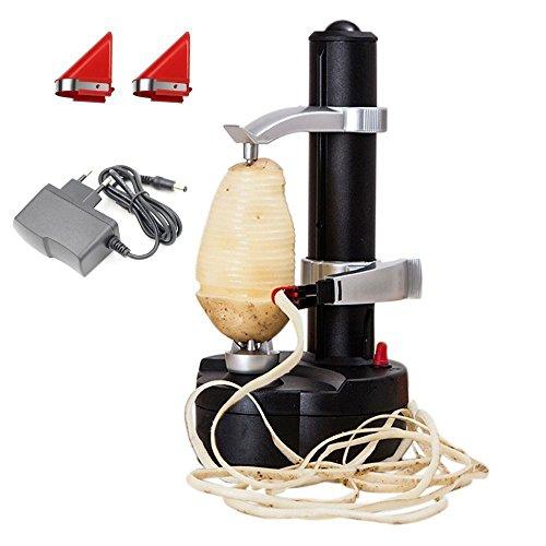 Malayas Elektro-Kartoffelschäler [2 Extra Klingen] - Automatische rotierende Früchte & Gemüse Cutter Apple Schälmaschine - Kitchen Peeling Tool (Schwarz)