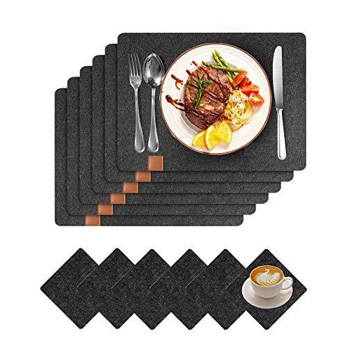 Platzsets aus Filz, 12er Set Tischsets und Untersetzer, 44x32 cm Abwaschbar und Hitzebeständigen Tischuntersetzer Platzdeckchen