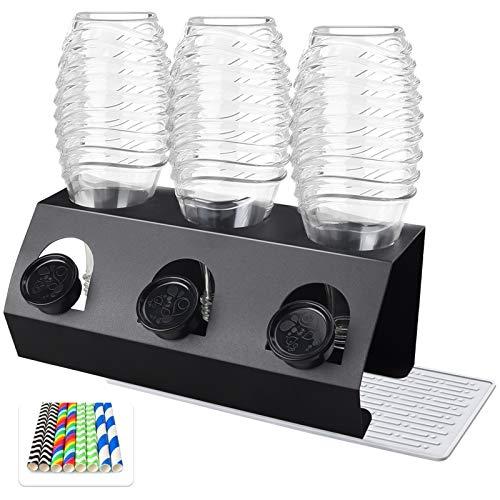 CSYY Premium Edelstahl Flaschenhalter für SodaStream, 3er Abtropfhalter für Soda Stream Crystal,Easy, Abtropfbehälter für SodaStream Flaschen,...