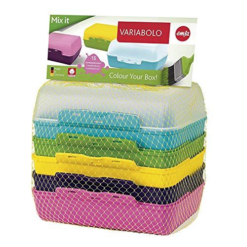 Emsa Clipboxen 3er-Set Variabolo 509388   6 Halbschalen für 3 Dosen   Beliebig zusammensetzbar   Spülmaschinengeeignet   Besonders für Kinder geeignet, Bunt